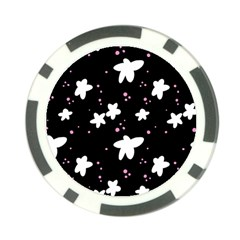 Square Pattern Black Big Flower Floral Pink White Star Poker Chip Card Guard by Alisyart