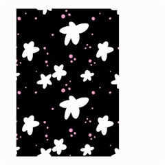 Square Pattern Black Big Flower Floral Pink White Star Small Garden Flag (two Sides) by Alisyart