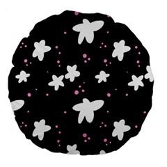 Square Pattern Black Big Flower Floral Pink White Star Large 18  Premium Round Cushions by Alisyart