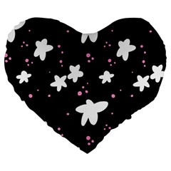 Square Pattern Black Big Flower Floral Pink White Star Large 19  Premium Heart Shape Cushions by Alisyart