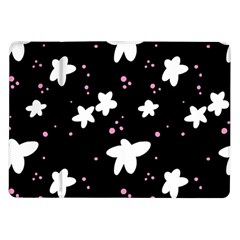 Square Pattern Black Big Flower Floral Pink White Star Samsung Galaxy Tab 10 1  P7500 Flip Case by Alisyart