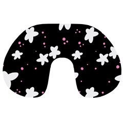 Square Pattern Black Big Flower Floral Pink White Star Travel Neck Pillows by Alisyart