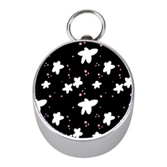 Square Pattern Black Big Flower Floral Pink White Star Mini Silver Compasses by Alisyart
