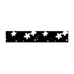 Square Pattern Black Big Flower Floral Pink White Star Flano Scarf (mini) by Alisyart