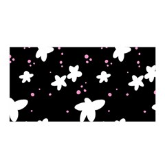 Square Pattern Black Big Flower Floral Pink White Star Satin Wrap by Alisyart