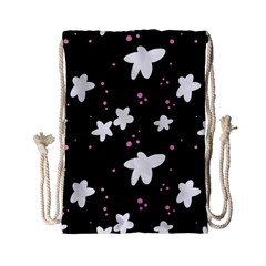 Square Pattern Black Big Flower Floral Pink White Star Drawstring Bag (small) by Alisyart