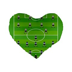 Soccer Field Football Sport Standard 16  Premium Flano Heart Shape Cushions by Alisyart