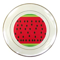 Watermelon Fan Red Green Fruit Porcelain Plates by Alisyart