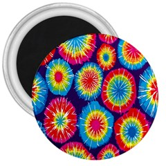 Tie Dye Circle Round Color Rainbow Red Purple Yellow Blue Pink Orange 3  Magnets by Alisyart