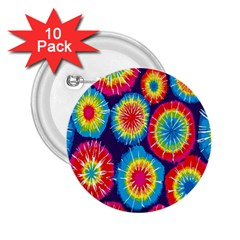 Tie Dye Circle Round Color Rainbow Red Purple Yellow Blue Pink Orange 2 25  Buttons (10 Pack)  by Alisyart