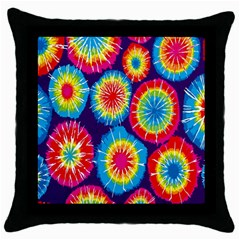 Tie Dye Circle Round Color Rainbow Red Purple Yellow Blue Pink Orange Throw Pillow Case (black) by Alisyart