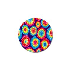Tie Dye Circle Round Color Rainbow Red Purple Yellow Blue Pink Orange Golf Ball Marker by Alisyart