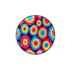 Tie Dye Circle Round Color Rainbow Red Purple Yellow Blue Pink Orange Hat Clip Ball Marker (4 Pack) by Alisyart