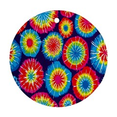 Tie Dye Circle Round Color Rainbow Red Purple Yellow Blue Pink Orange Round Ornament (two Sides) by Alisyart