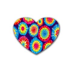 Tie Dye Circle Round Color Rainbow Red Purple Yellow Blue Pink Orange Rubber Coaster (heart)  by Alisyart