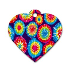 Tie Dye Circle Round Color Rainbow Red Purple Yellow Blue Pink Orange Dog Tag Heart (two Sides) by Alisyart