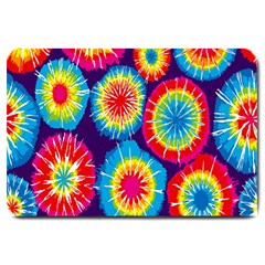 Tie Dye Circle Round Color Rainbow Red Purple Yellow Blue Pink Orange Large Doormat  by Alisyart