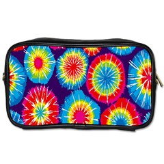 Tie Dye Circle Round Color Rainbow Red Purple Yellow Blue Pink Orange Toiletries Bags by Alisyart