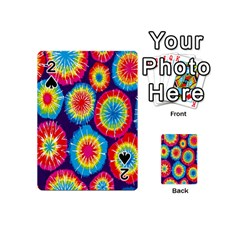 Tie Dye Circle Round Color Rainbow Red Purple Yellow Blue Pink Orange Playing Cards 54 (mini)  by Alisyart