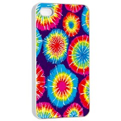 Tie Dye Circle Round Color Rainbow Red Purple Yellow Blue Pink Orange Apple Iphone 4/4s Seamless Case (white) by Alisyart
