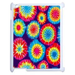 Tie Dye Circle Round Color Rainbow Red Purple Yellow Blue Pink Orange Apple Ipad 2 Case (white) by Alisyart