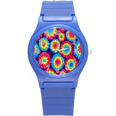 Tie Dye Circle Round Color Rainbow Red Purple Yellow Blue Pink Orange Round Plastic Sport Watch (s) by Alisyart