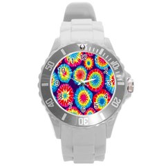 Tie Dye Circle Round Color Rainbow Red Purple Yellow Blue Pink Orange Round Plastic Sport Watch (l) by Alisyart
