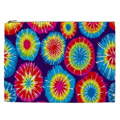 Tie Dye Circle Round Color Rainbow Red Purple Yellow Blue Pink Orange Cosmetic Bag (xxl)  by Alisyart