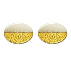 Water Bubbel Foam Yellow White Drink Cufflinks (oval) by Alisyart