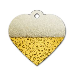 Water Bubbel Foam Yellow White Drink Dog Tag Heart (two Sides) by Alisyart