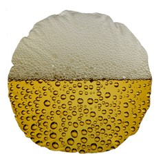 Water Bubbel Foam Yellow White Drink Large 18  Premium Flano Round Cushions by Alisyart