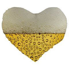 Water Bubbel Foam Yellow White Drink Large 19  Premium Flano Heart Shape Cushions by Alisyart