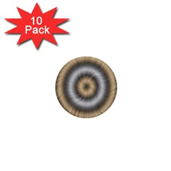 Prismatic Waves Gold Silver 1  Mini Buttons (10 Pack)  by Alisyart
