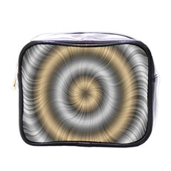 Prismatic Waves Gold Silver Mini Toiletries Bags by Alisyart