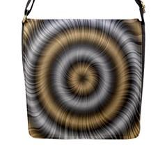 Prismatic Waves Gold Silver Flap Messenger Bag (l)  by Alisyart
