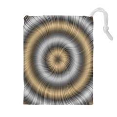 Prismatic Waves Gold Silver Drawstring Pouches (extra Large) by Alisyart