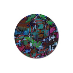 Dark Watercolor On Partial Image Of San Francisco City Mural Usa Magnet 3  (round) by Simbadda