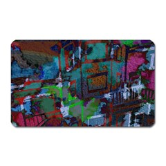 Dark Watercolor On Partial Image Of San Francisco City Mural Usa Magnet (rectangular) by Simbadda