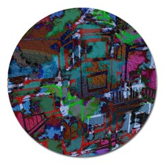 Dark Watercolor On Partial Image Of San Francisco City Mural Usa Magnet 5  (round) by Simbadda