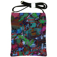 Dark Watercolor On Partial Image Of San Francisco City Mural Usa Shoulder Sling Bags by Simbadda