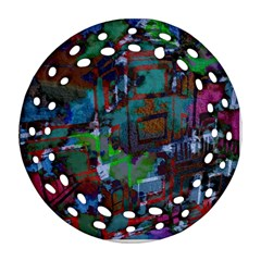 Dark Watercolor On Partial Image Of San Francisco City Mural Usa Round Filigree Ornament (two Sides) by Simbadda