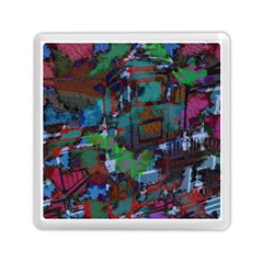 Dark Watercolor On Partial Image Of San Francisco City Mural Usa Memory Card Reader (square)  by Simbadda