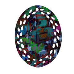 Dark Watercolor On Partial Image Of San Francisco City Mural Usa Oval Filigree Ornament (two Sides) by Simbadda
