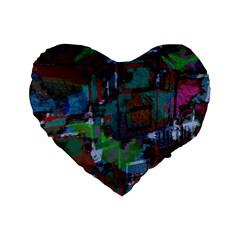 Dark Watercolor On Partial Image Of San Francisco City Mural Usa Standard 16  Premium Heart Shape Cushions by Simbadda