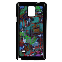 Dark Watercolor On Partial Image Of San Francisco City Mural Usa Samsung Galaxy Note 4 Case (black) by Simbadda
