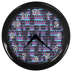 Techno Fractal Wallpaper Wall Clocks (black) by Simbadda