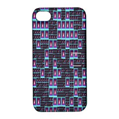 Techno Fractal Wallpaper Apple Iphone 4/4s Hardshell Case With Stand by Simbadda