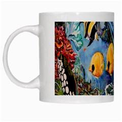 Colorful Aquatic Life Wall Mural White Mugs by Simbadda