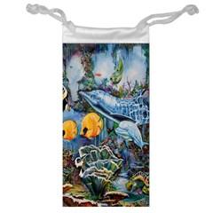 Colorful Aquatic Life Wall Mural Jewelry Bag by Simbadda