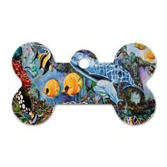 Colorful Aquatic Life Wall Mural Dog Tag Bone (two Sides) by Simbadda